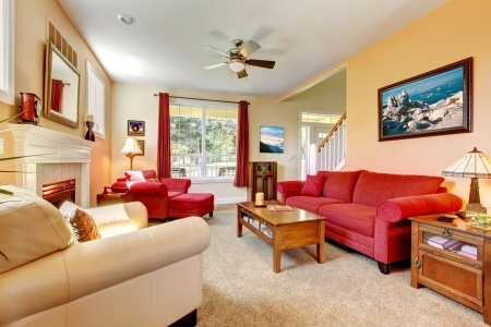 carpeted room with red couch
